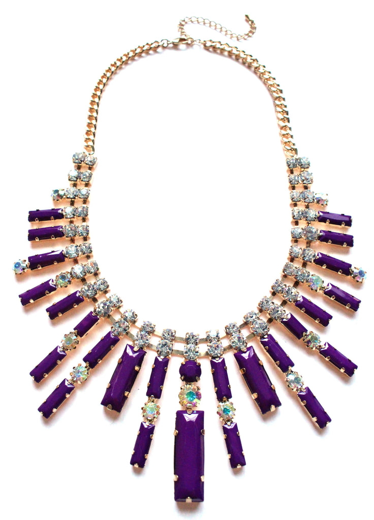 Crystal Spike Bib Statement Necklace- Purple