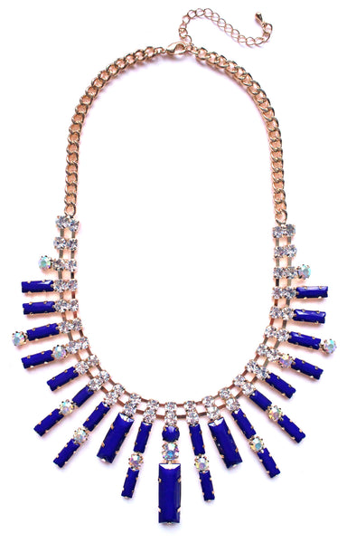 Crystal Spike Bib Statement Necklace- Royal