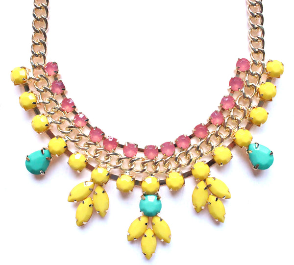 Colorful Jeweled Rose Bud Statement Necklace