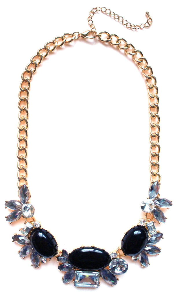 Crystal Cluster Statement Necklace- Black