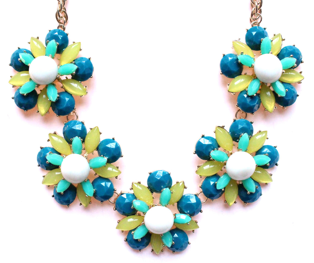 Floral Jeweled Gemstone Necklace- Teal