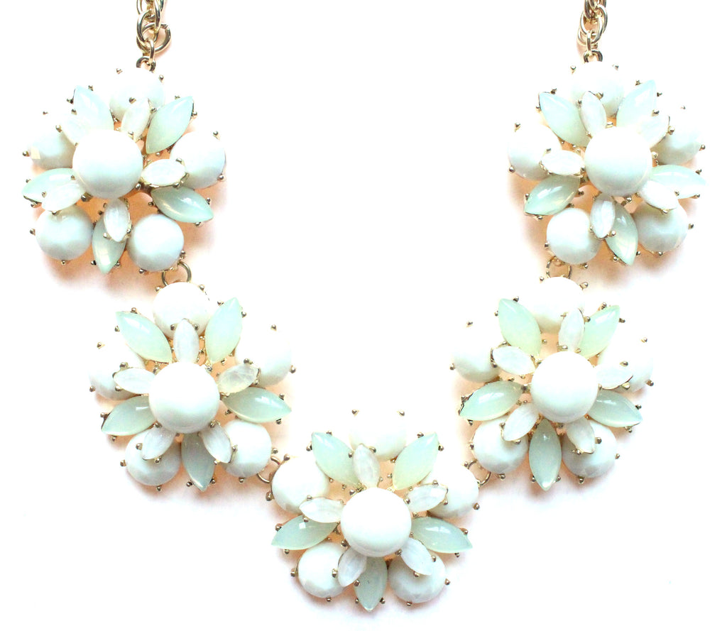 Floral Jeweled Gemstone Necklace- Ivory