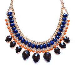 Layered Rhinestone Teardrop Necklace- Brown & Blue