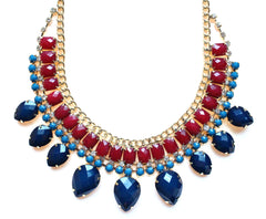 Layered Rhinestone Teardrop Necklace- Blue & Red