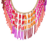 Boho Beaded Fringe Statement Necklace- Pink