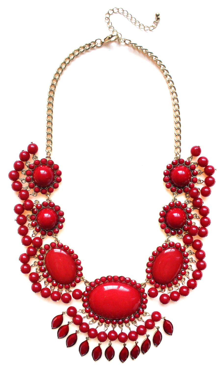 Bauble Fan Fringe Statement Necklace- Red