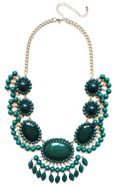 Bauble Fan Fringe Statement Necklace- Green