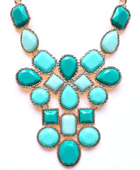 Mint & Emerald Jeweled Cluster Statement Necklace