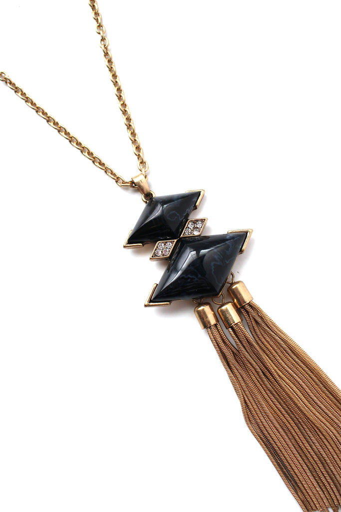 Stella Marble Tassel Necklace