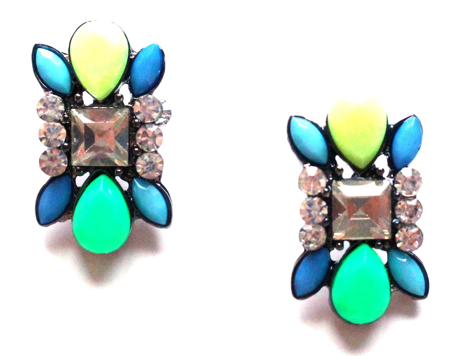 Neon Stud Earrings- Lime
