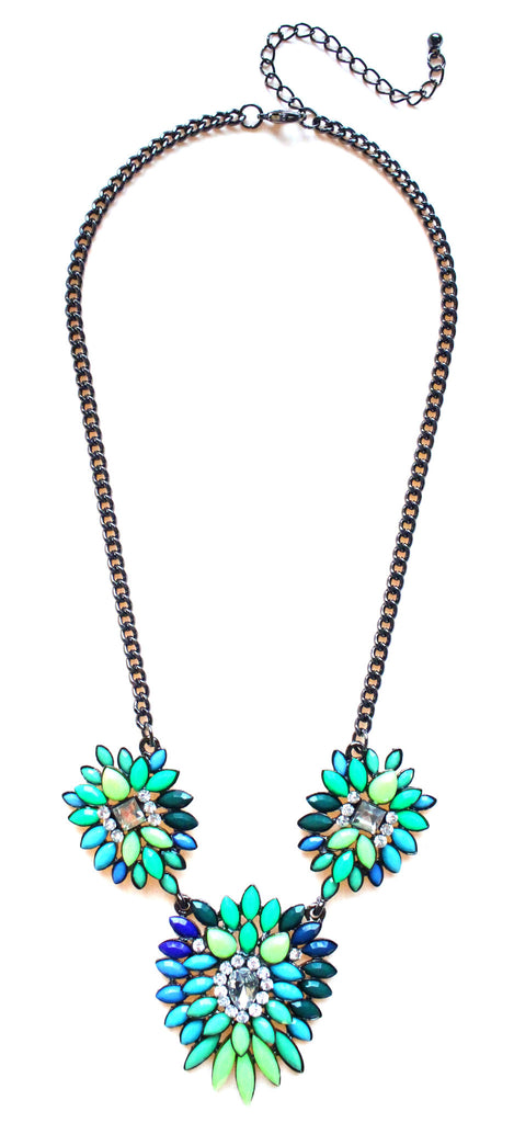 Neon Leaves Statement Necklace- Lime & Turquoise