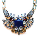 Luxe Crystal Compilation Statement Necklace Set- Navy