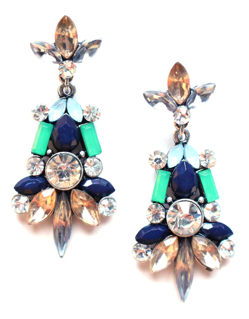 Jeweled Spike Earrings- Montana Green & Navy