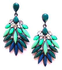 Neon Leaves Earrings- Lime & Turquoise