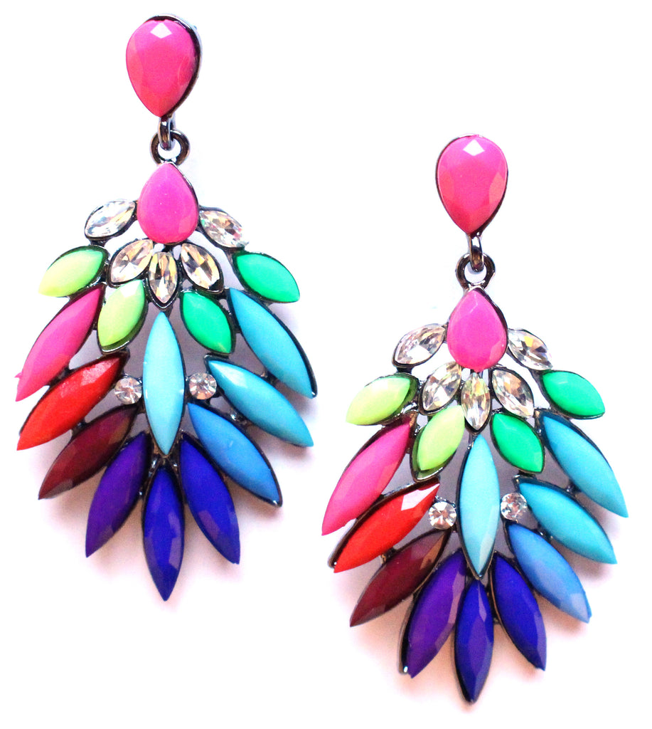 Neon Leaves Earrings- Multi
