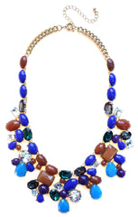 Candy Color Mix Statement Necklace- Blue