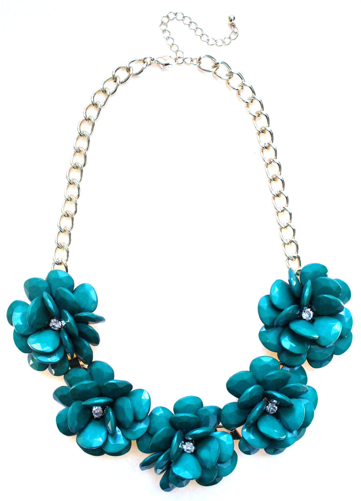 Beaded Rosette Statement Necklace- Emerald