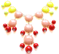 Bubble COLOR-BLOCK Statement Necklace- Sunset