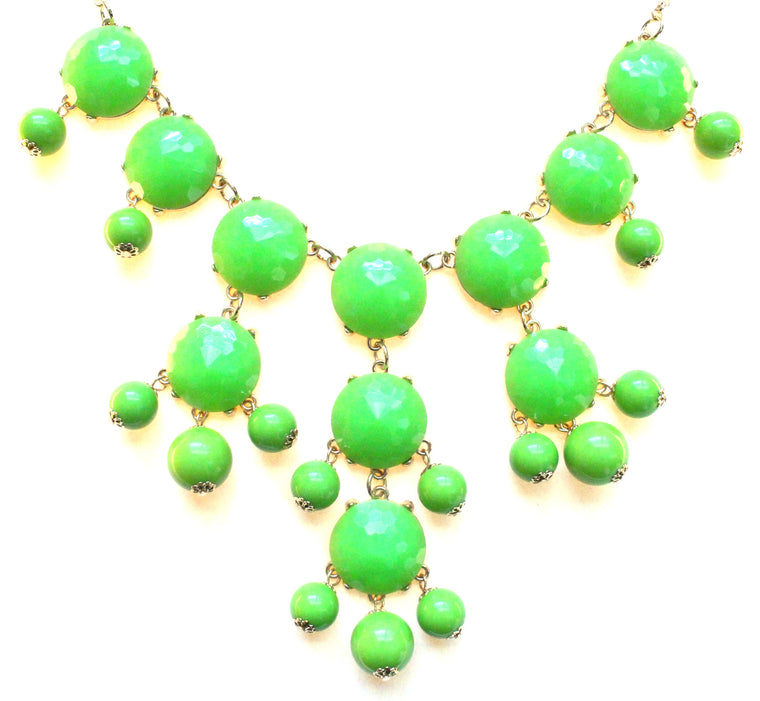 Bubble JEWELED Statement Necklace- Lime Green