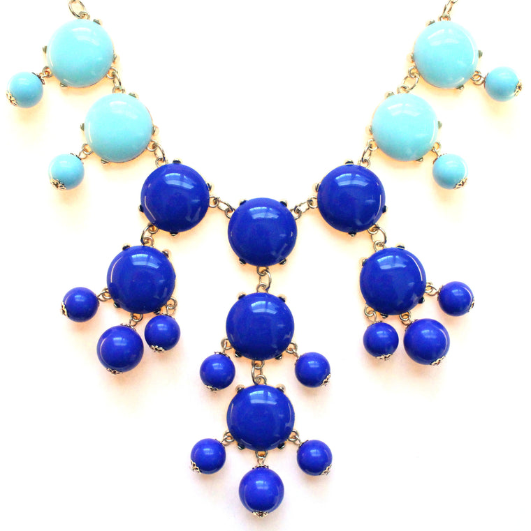 Bubble COLOR-BLOCK Statement Necklace- Royal & Mint