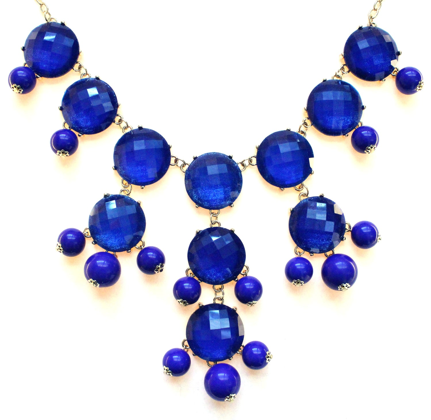 Bubble JEWELED Statement Necklace- Royal Blue