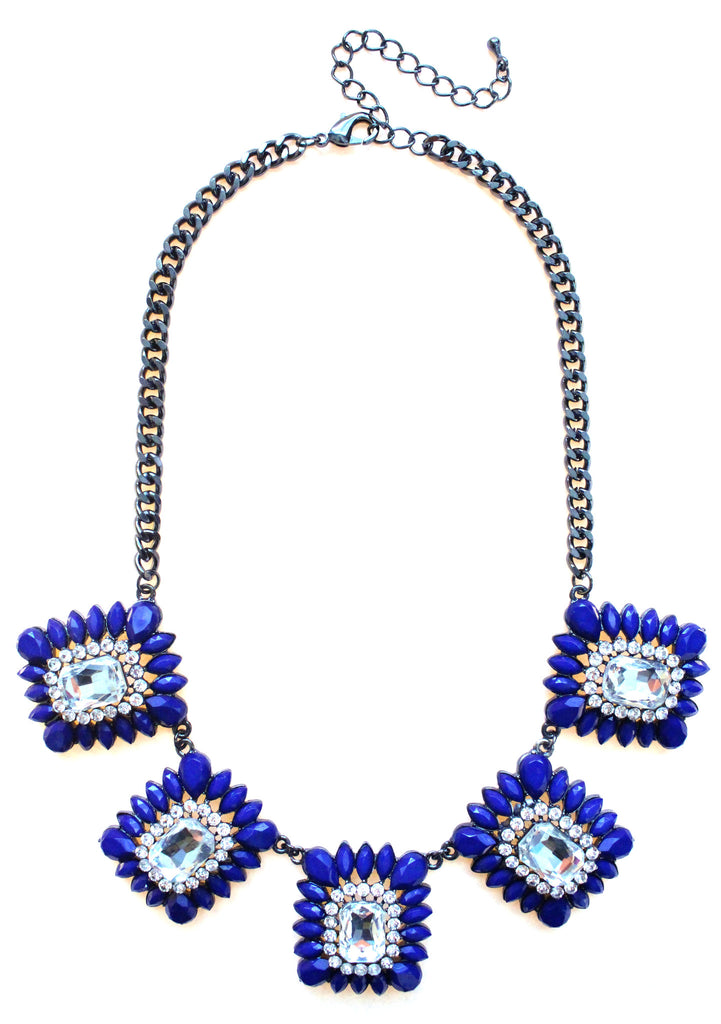 Crystal Square Jeweled Statement Necklace- Royal