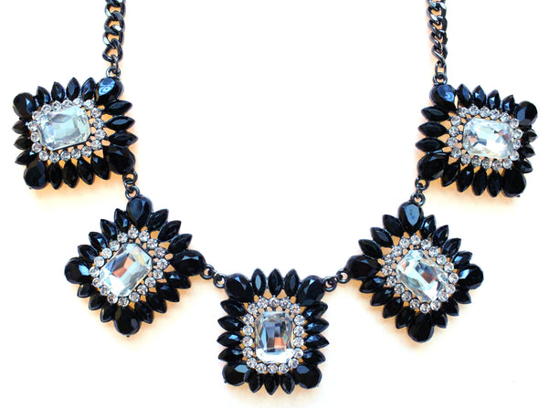 Crystal Square Jeweled Statement Necklace- Black