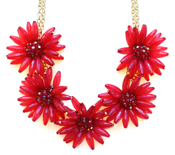 Blossom Flower Statement Necklace- Red