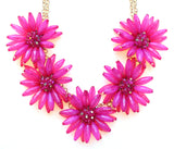 Blossom Flower Statement Necklace- Pink