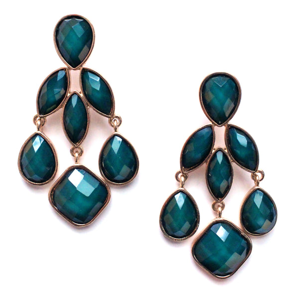 Emerald Jeweled Chandelier Earrings
