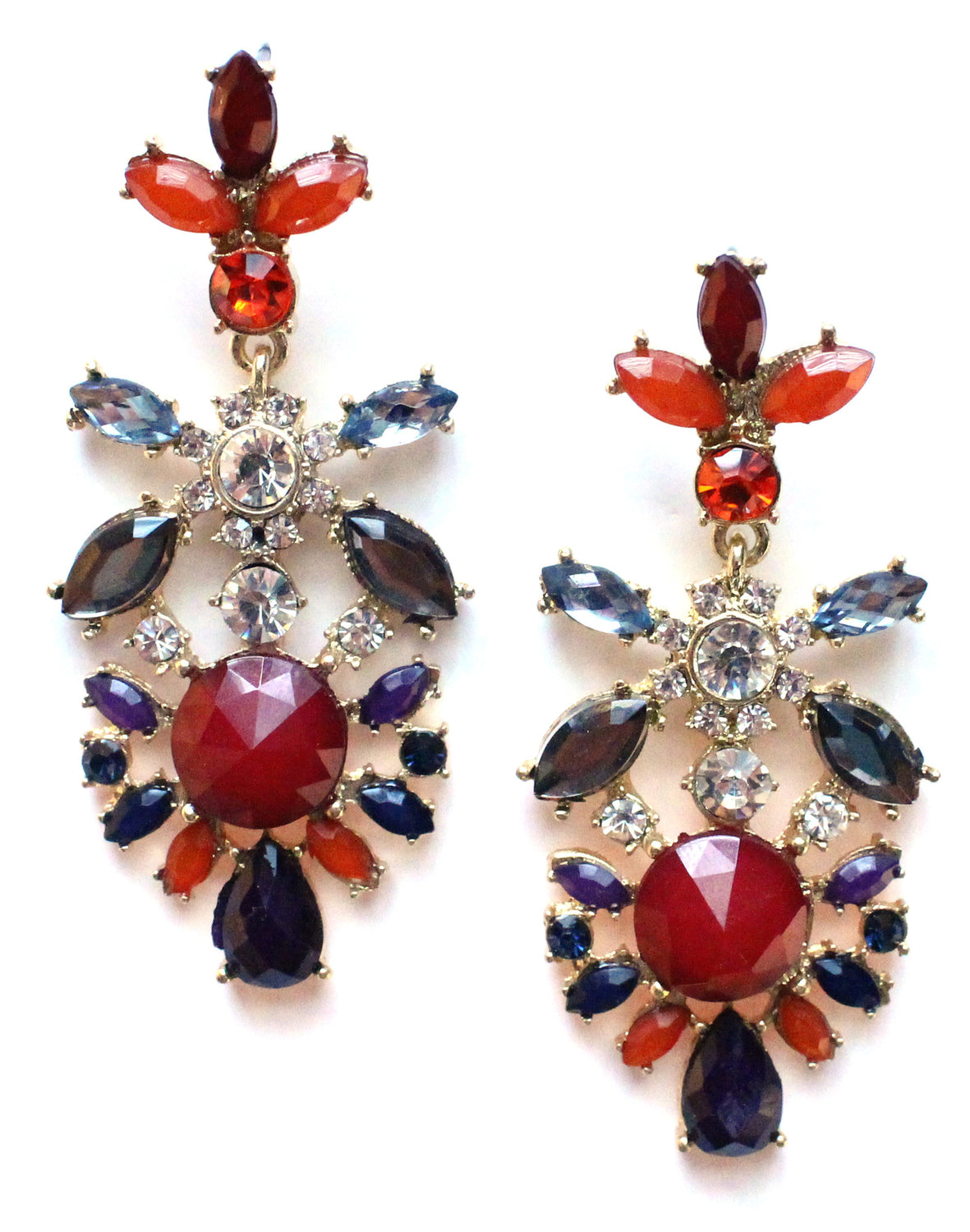 Crystal Floral Earrings- Red