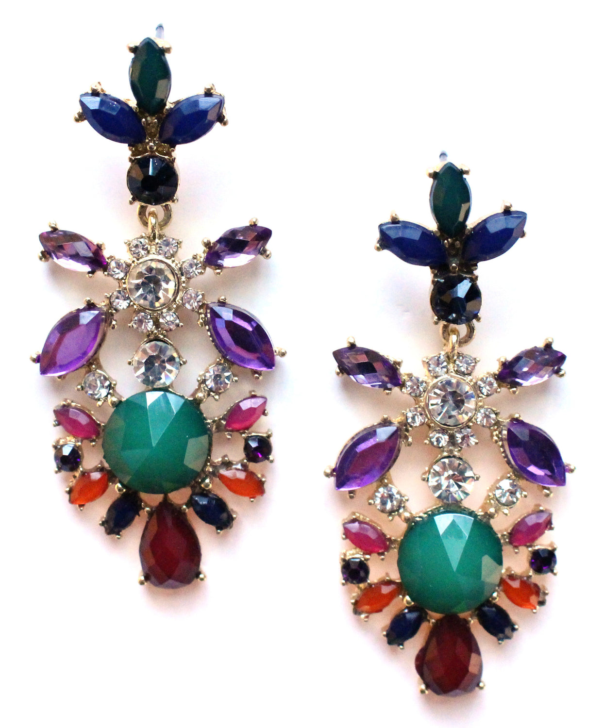 Crystal Floral Earrings- Green & Purple
