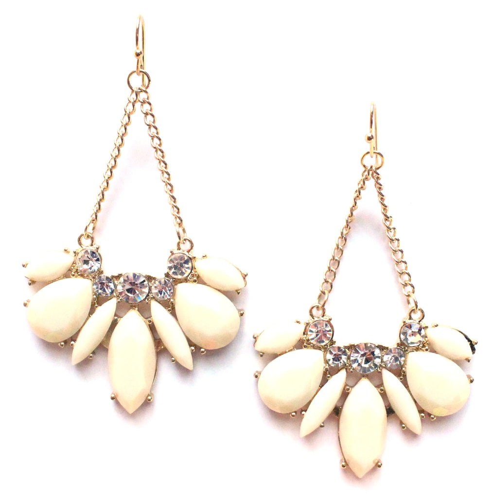 Ivory Crystal Dangle Earrings