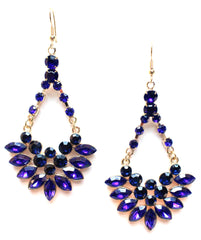 Crystal Jeweled Dangle Earrings- Royal