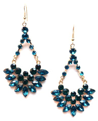 Crystal Jeweled Dangle Earrings- Emerald
