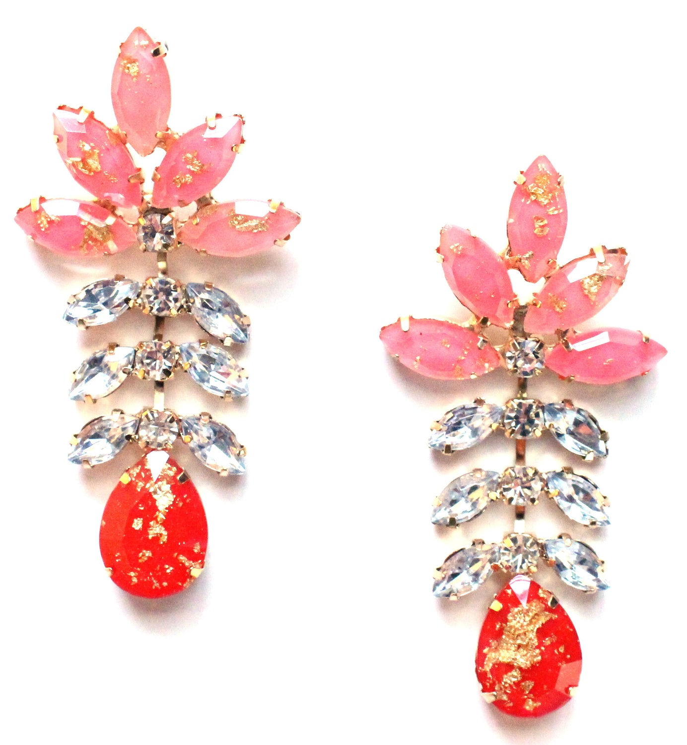 Gold Leaf Crystal Dangle Earrings- Pink