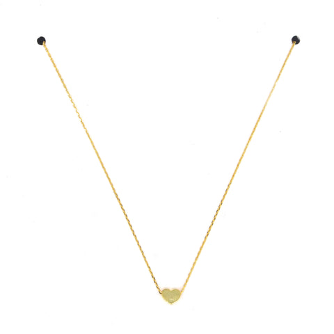 Solid Heart Pendant Necklace- Gold