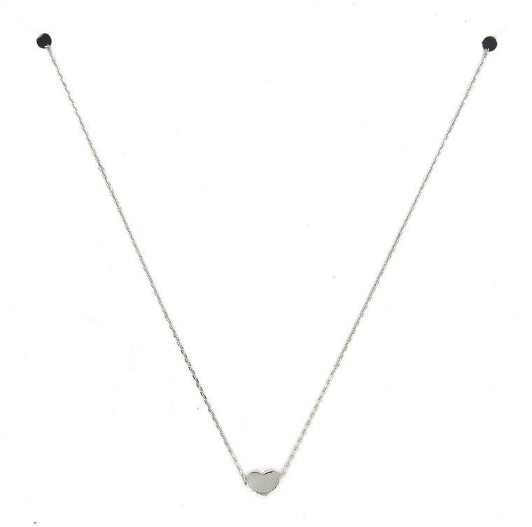 Solid Heart Pendant Necklace- Silver