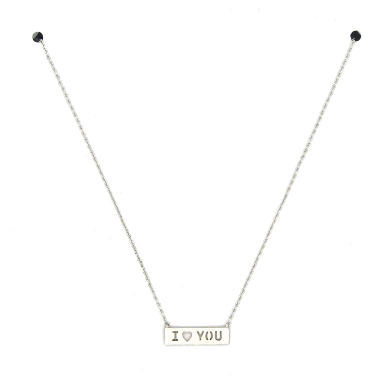 I LOVE YOU Pendant Necklace- Silver