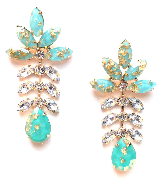 Gold Leaf Crystal Dangle Earrings-Mint