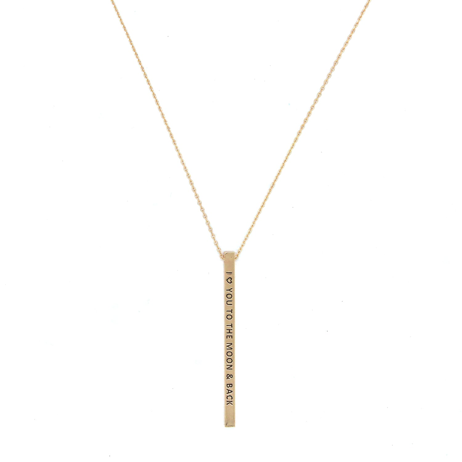 I LOVE YOU TO THE MOON & BACK Engraved Bar Necklace- Gold