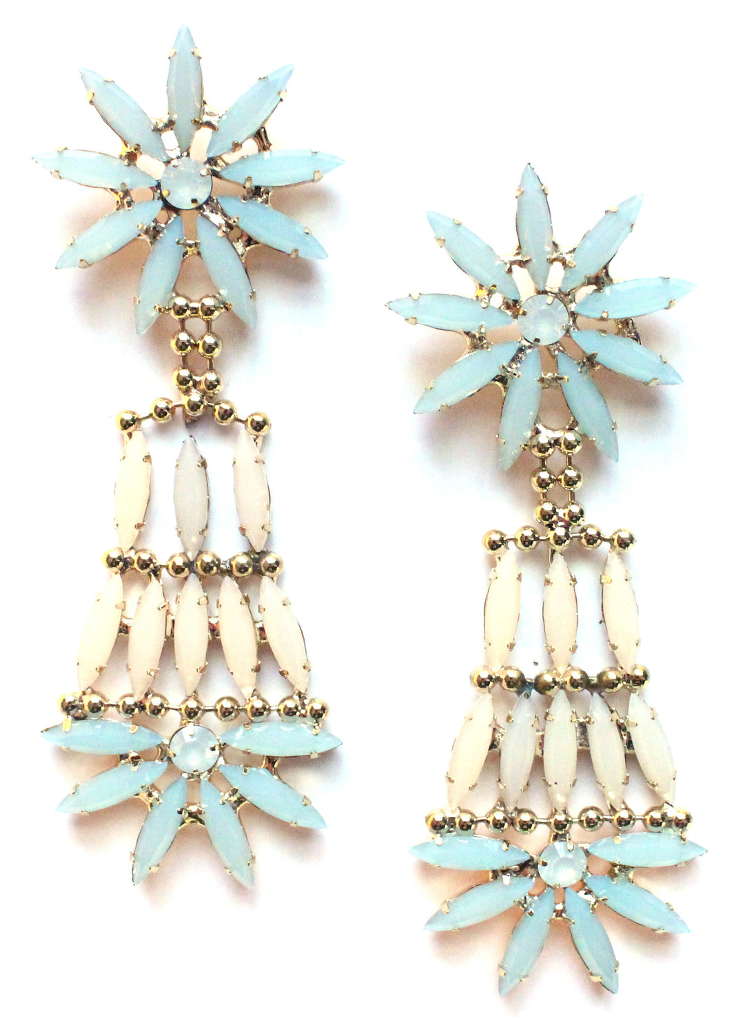 Crystal Floral Dangle Chandelier Earrings