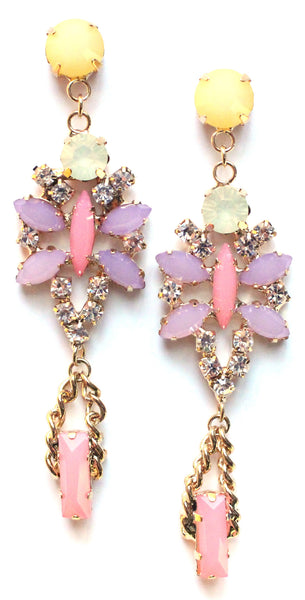 Crystal Glamour Chandelier Earrings- Light pink/Lavender