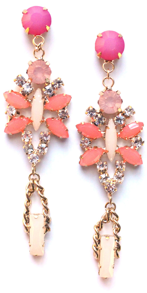 Crystal Glamour Chandelier Earrings- Fuchsia/Peach