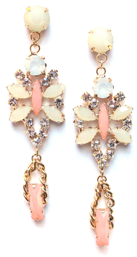 Crystal Glamour Chandelier Earrings- Mint/Peach
