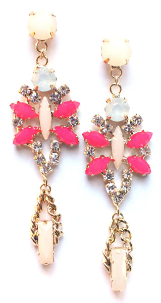 Crystal Glamour Chandelier Earrings- Light Pink/Fuchsia