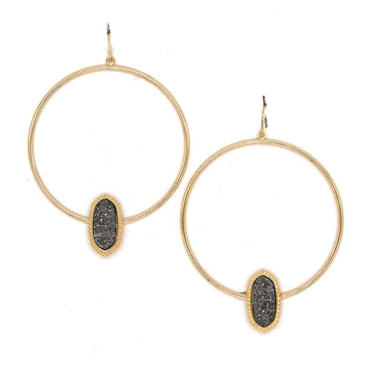 Lizzy Druzy Hoop Earrings- Gold/Gunmetal