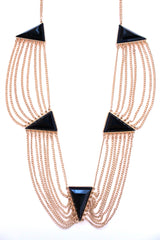Draped Layered Gemstone Chain Statement Necklace