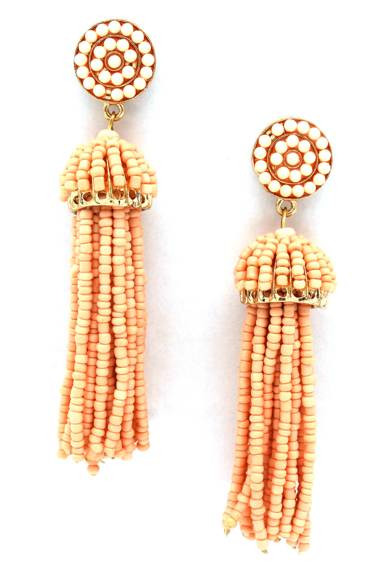 Daniella Tassel Earrings- Peach