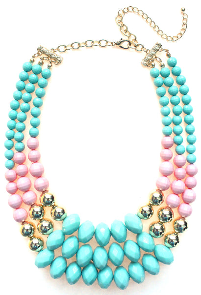 Beaded Layered Statement Necklace- Mint & Light Pink